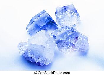 azul, cristales, coloreado, zafiro