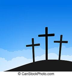 azul, cruces, cielo, tres