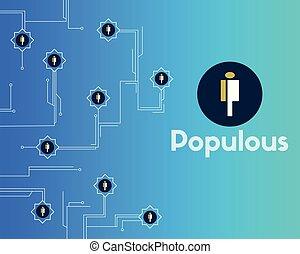 azul, cryptocurrency, blockchain, plano de fondo, populous