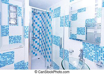 azul, cuarto de baño, 2