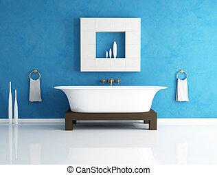 azul, cuarto de baño