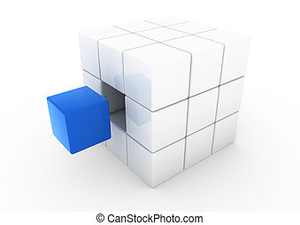 azul, cubo blanco, empresa / negocio, 3d