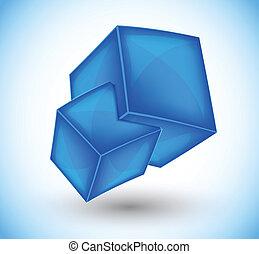 azul, cubos, 3d