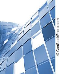 azul, cubos, abstratos, metálico, fundo, branca