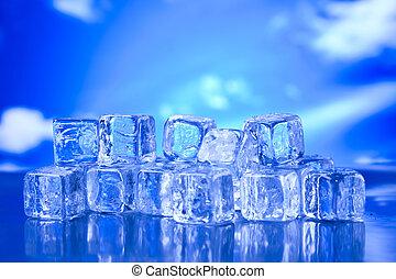 azul, cubos, brillante, hielo