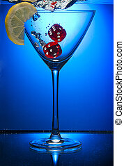 azul, cubos, cristal del agua, objekt, limpio, limon