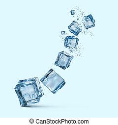azul, cubos, isolado, água gelo, esguichos, fundo