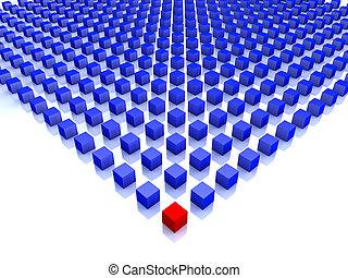 azul, cubos, um, campo, canto, vermelho
