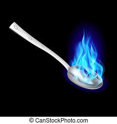 azul, cuchara, metal, fire.