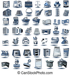 azul, cuenta, iconos