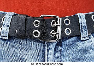 azul, cuero, cinturón, vaqueros, negro