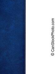 azul, cuero, cubierta de libro