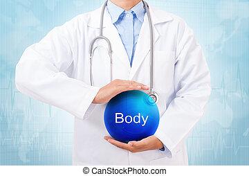 azul, cuerpo, pelota, doctor, muestra médica, cristal, fondo., tenencia