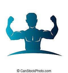 azul, cuerpo, silueta, mitad, hombre del músculo