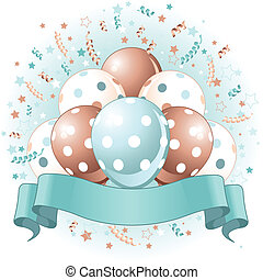 azul, cumpleaños, globos, diseño