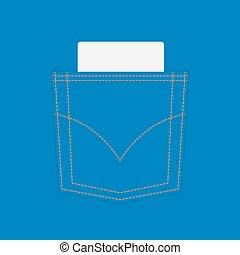 azul, cupão, bolso, calças brim, em branco