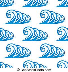 azul, curling, padrão, seamless, ondas oceano