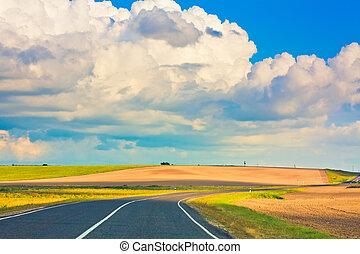 azul, curvo, cielo, vacío, camino