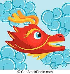 azul, cute, cabeça, nuvens, chinês, estilo, dragão, caricatura, vermelho