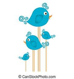 azul, cute, caricatura, pássaros, jogo, com, redemoinho, penas