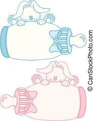 azul, cute, coelhinho, cor-de-rosa, garrafa, bebê, leite