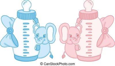 azul, cute, cor-de-rosa, garrafa, elefante, bebê, leite