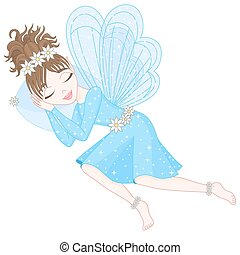 azul, cute, dormir, fada, vestido, asas, transparente