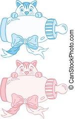azul, cute, gato, cor-de-rosa, garrafa, bebê, leite