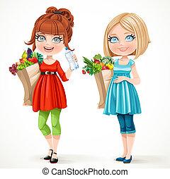 azul, cute, grávida, legumes, dois, isolado, sacolas, papel, fundo, frutas, fresco, branco vermelho, mulheres
