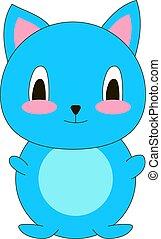 azul, cute, ilustração, gato, experiência., vetorial, branca