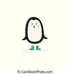 azul, cute, inverno, inicializa, ficar, bebê, queda, pingüim