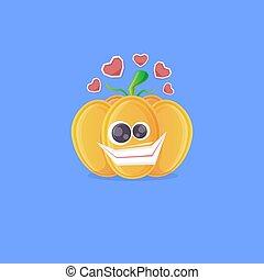 azul, cute, isolado, funky, outono, personagem, sorrindo, experiência., abóbora, character., vegetal, dia das bruxas, caricatura, vetorial, engraçado
