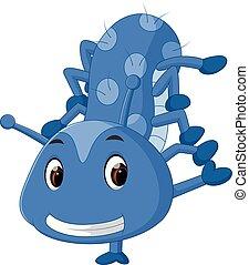 azul, cute, lagarta, caricatura