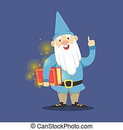 azul, cute, magia, anão, ilustração, ficar, vetorial, segurando, livro, roupas vermelhas