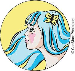 azul, cute, mulher, jovem, cabelo, retrato, redondo