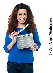 azul, cute, mulher segura, ornamentar, clapperboard