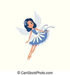 azul, cute, pequeno, dress., magia, coloridos, apartamento, fairytale, voando, personagem, acessórios, fantasia, asas, pixie, action., desenho, hair., floral, fada, vetorial, caricatura