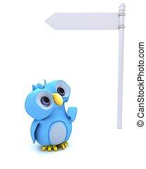 azul, cute, personagem, pássaro