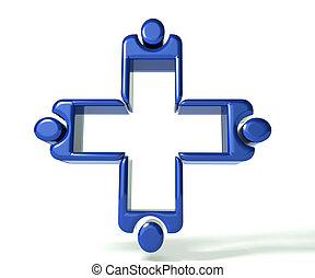azul, d, médico 3, trabajo en equipo, imagen