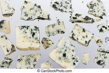 azul, danés, queso, aislado, plano de fondo, blanco