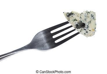 azul, danés, recorte, queso, aislado, tenedor, plano de...