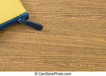 azul, de madera, amarillo, bolsa, tabla, cremallera