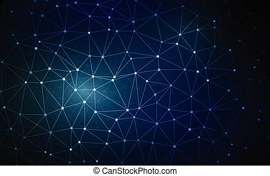 azul, de par en par, hexágono, concepto, ángulo, red, paisaje., grande, concept., futurista, fondo., conexión, vector, perspectiva, digital, illustration., 3d, datos, lanscape., panal