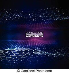 azul, de par en par, hexágono, concepto, ángulo, red, paisaje., grande, concept., fondo., conexión, vector, perspectiva, digital, illustration., 3d, datos, futurista, panal