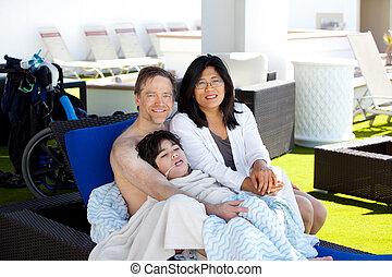 azul, de, piscina, madre, padre, cabaña, hijo, incapacitado,...