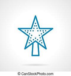 azul, decoração, estrela, estilo, vetorial, linha, xmas, ícone