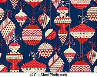 azul, decoração, motivo, repeatable, nordic, xmas, vermelho