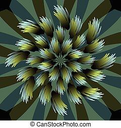 azul, decorativo, estilo, flor, vibrante, abstratos, ilustração, metálico, escuro, forma, fundo, vetorial, verde, projeto fractal, 3d