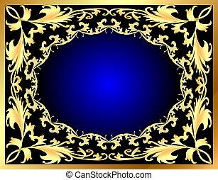 azul, decorativo, gold(en), padrão, quadro, fundo