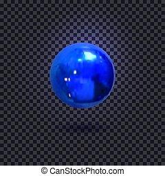 azul, decorativo, iluminado, isolado, escuro, vetorial, fundo, bola, element.